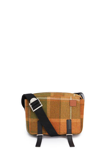 LOEWE XS Military Messenger bag in textile and calfskin Tan/Black pdp_rd
