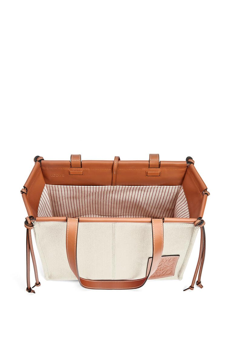 LOEWE Cushion Tote Bag In Canvas And Calfskin Light Oat pdp_rd