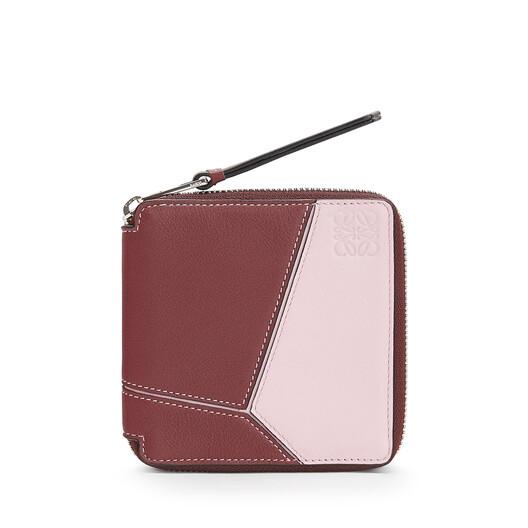 LOEWE Puzzle Square Zip Wallet Wine/Pastel Pink front