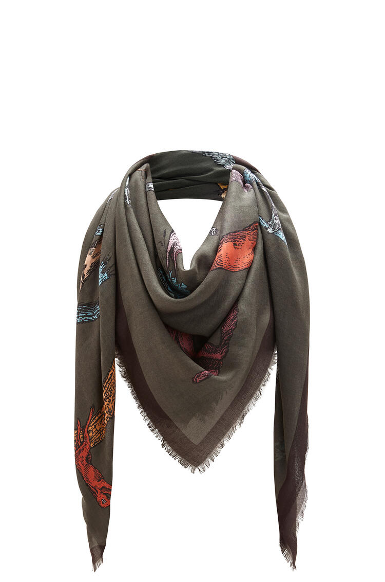 LOEWE 140 x 140 cm alphabet scarf in modal and cashmere Dark Green pdp_rd