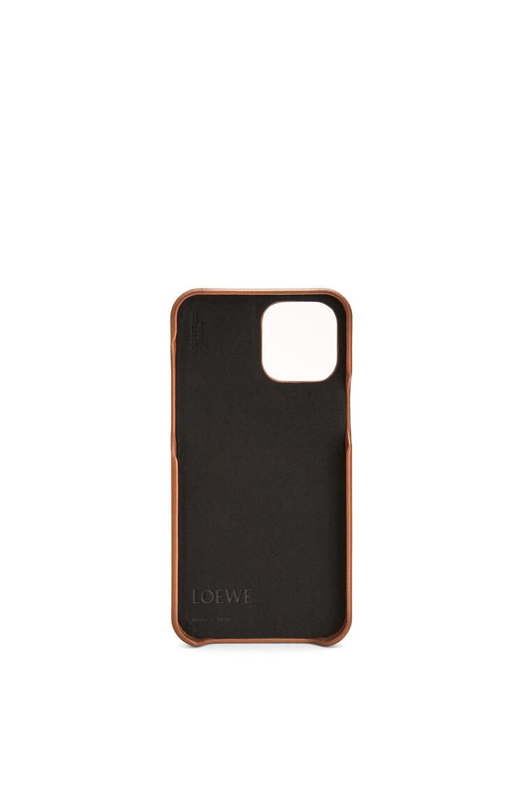 LOEWE Brand phone cover in calfskin for iPhone 12 Pro Max Tan pdp_rd