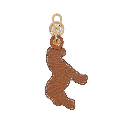 LOEWE Zebra Leather Charm tan/white front