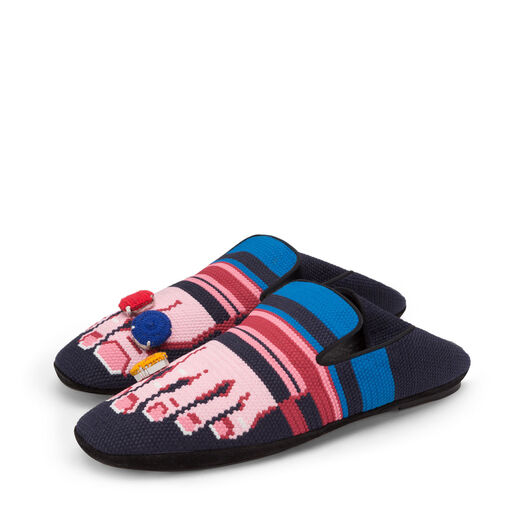 LOEWE Embroidered Slipper Toes Navy Blue/Pink front