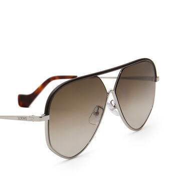 LOEWE Pilot Leather Sunglasses Rhodium/Rhodium/Khaki Green front