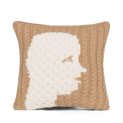 LOEWE Hand Knitted Cushion 2 40X40 Camel/White front