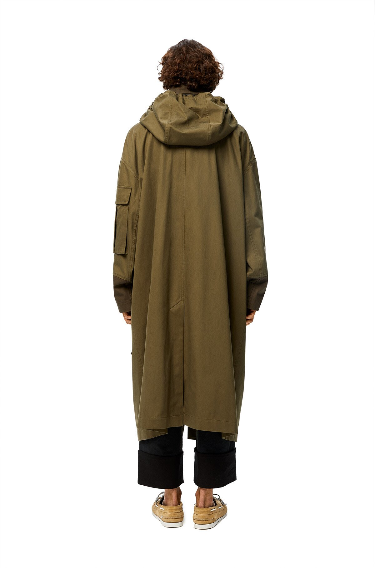 LOEWE Patch Pocket Hooded Parka Khaki Green front