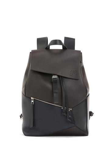 LOEWE Puzzle Backpack In Natural Calfskin Carbon/Deep Blue pdp_rd