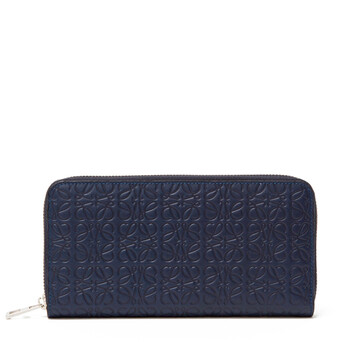 LOEWE Repeat Zip Around Wallet Navy Blue front
