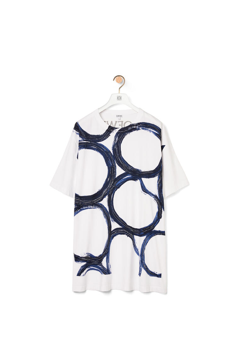 LOEWE Oversize T-shirt in cotton with circles Soft White/Navy Blue pdp_rd