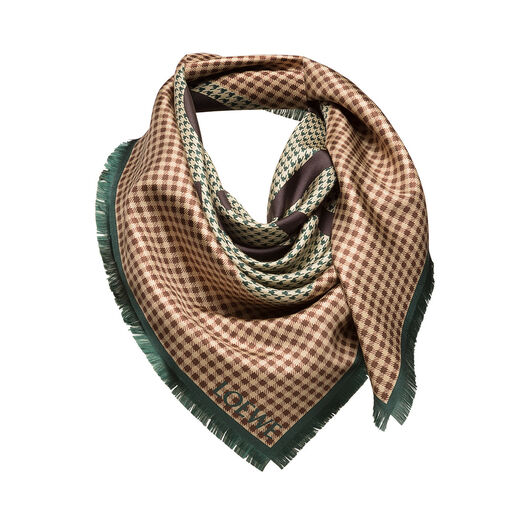 LOEWE 90X90 Scarf Check Anagram Marron Oscuro/Verde Oscuro all