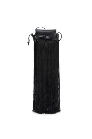 LOEWE Mini Gate Fringes Bag In Soft Calfskin Black pdp_rd