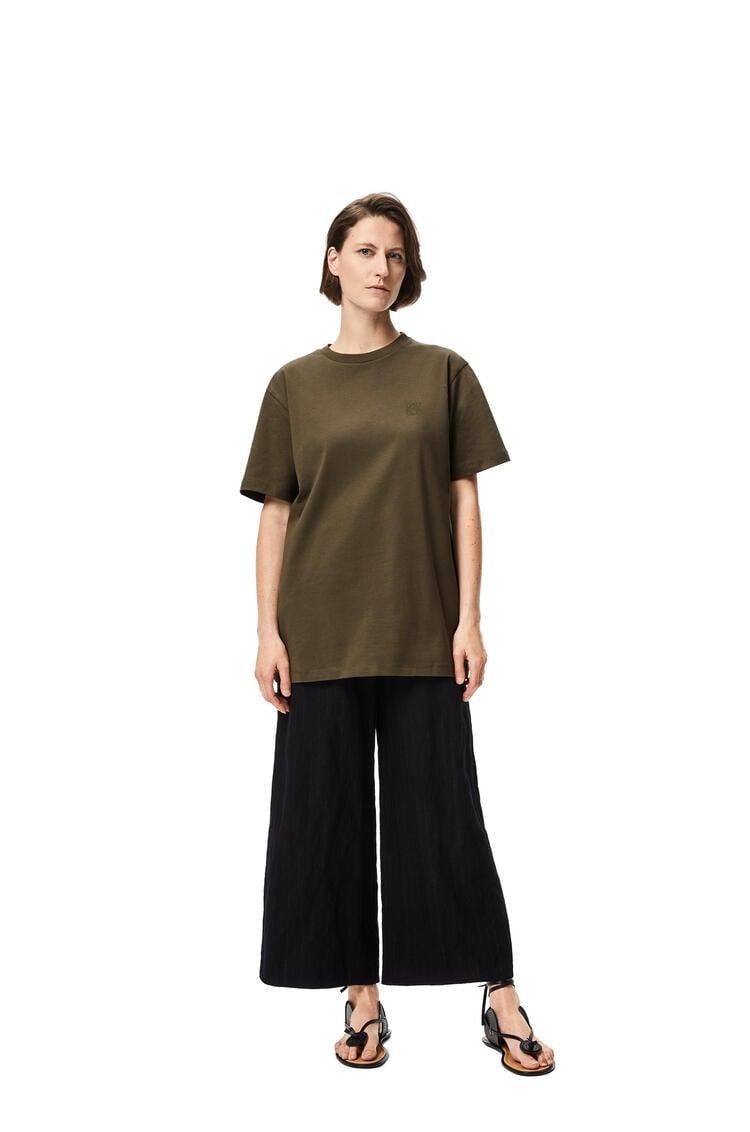 LOEWE 圆形棉质罗纹衣领短袖T恤 Khaki Green pdp_rd