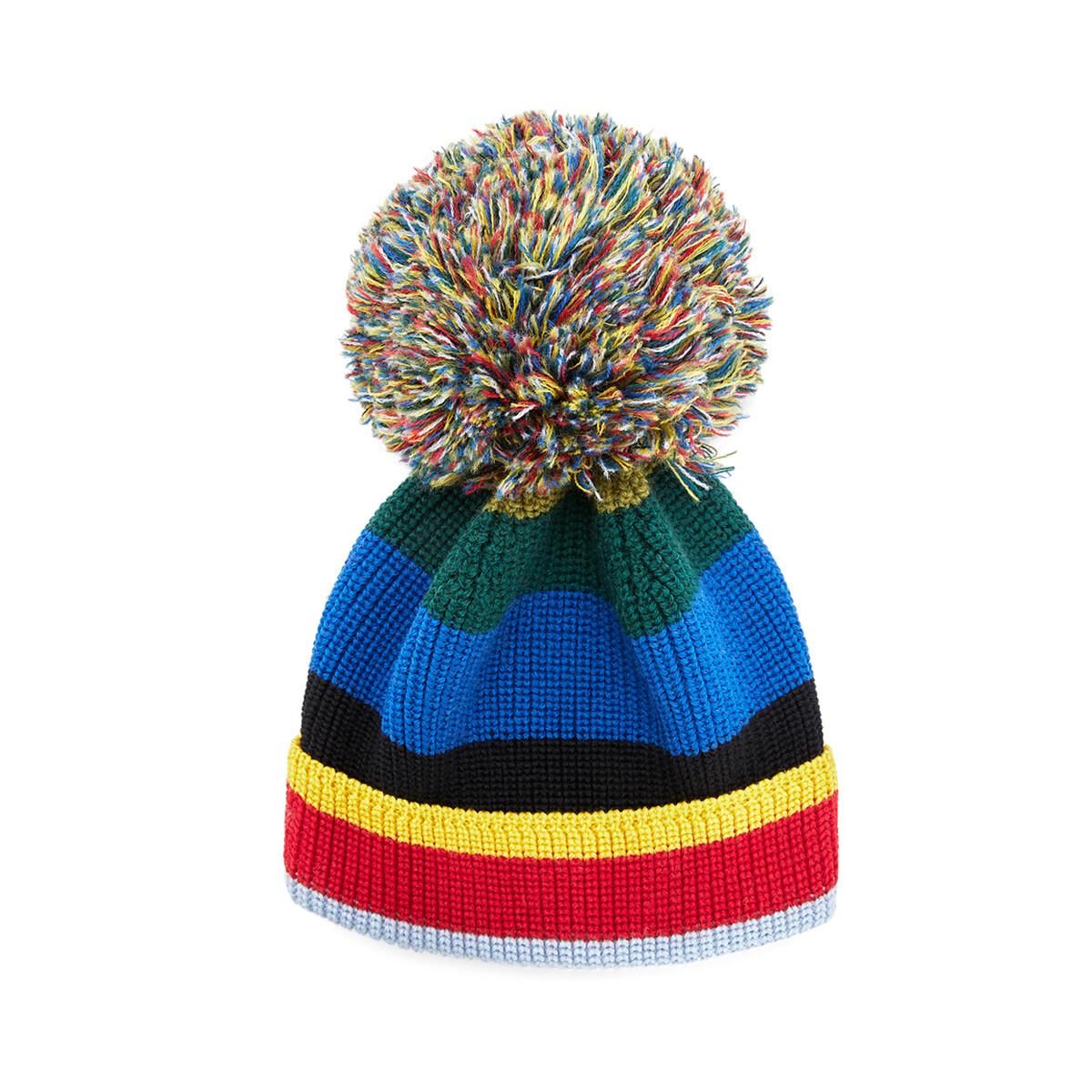 LOEWE Eln Stripe Knit Beanie 多色拼接 front