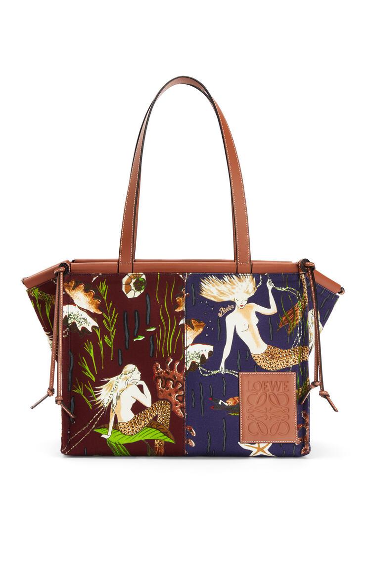 LOEWE Cushion Tote Bag In Mermaid Canvas And Calfskin Marine/Burgundy pdp_rd