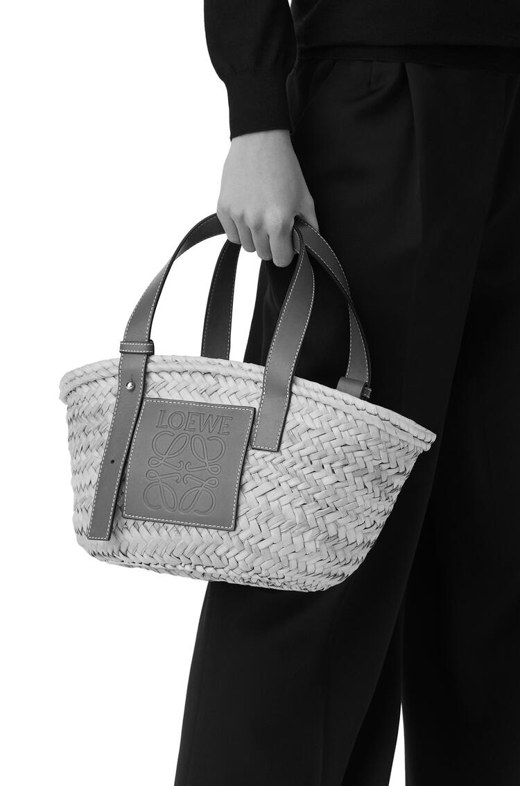 LOEWE Small Basket Bag In Palm Leaf And Calfskin Natural/White pdp_rd