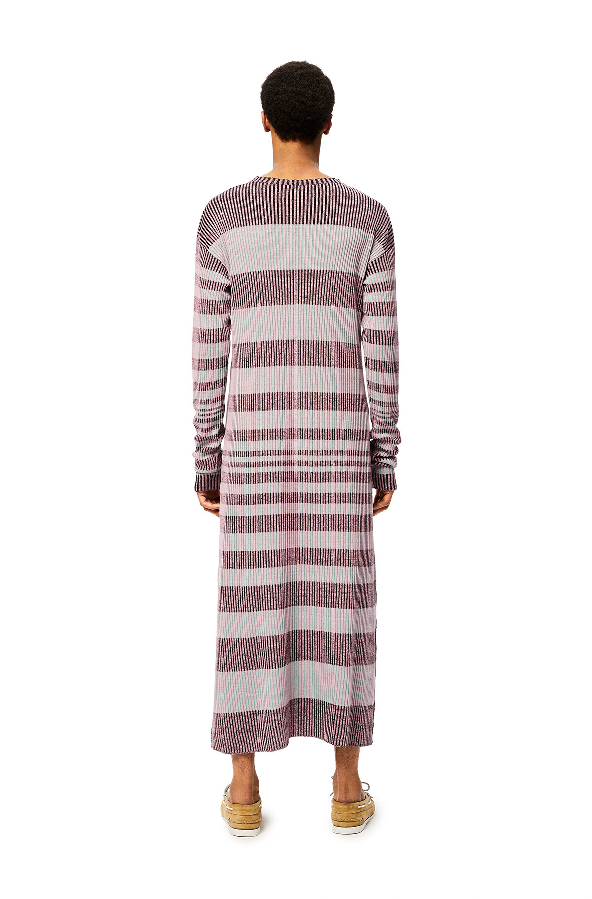 LOEWE Stripe Rib Knit Dress Pink/Black front