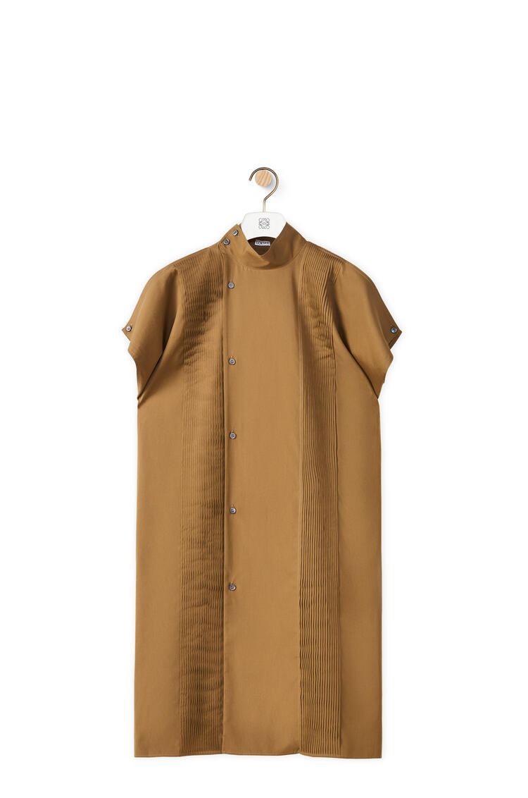 LOEWE Pleated midi shirt dress in cotton Moss Green pdp_rd