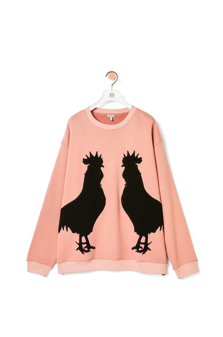 LOEWE Rooster oversize sweatshirt in cotton Soft Pink pdp_rd