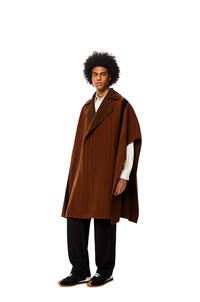 LOEWE Stripe cape in wool and cashmere Brown/Navy Blue pdp_rd