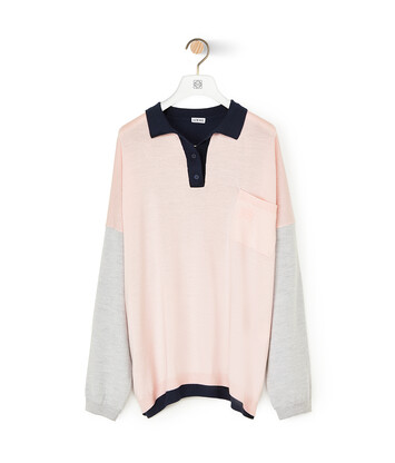 LOEWE Oversize Poloneck Sweater Rosa/Marino front