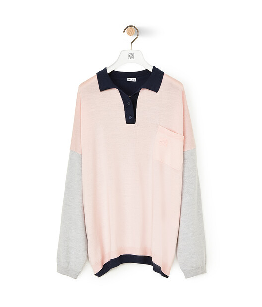 LOEWE Oversize Poloneck Sweater Pink/Navy Blue front