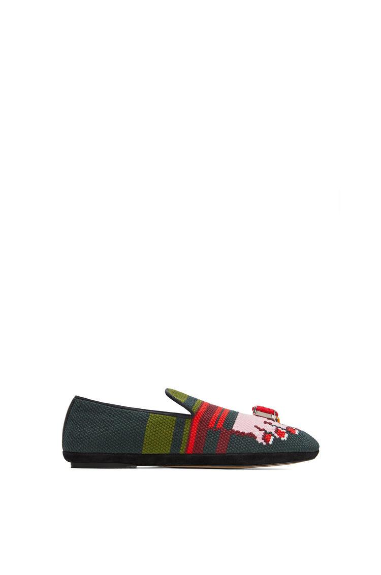 LOEWE Slipper In Embroidery Suede Dark Green/Pink pdp_rd