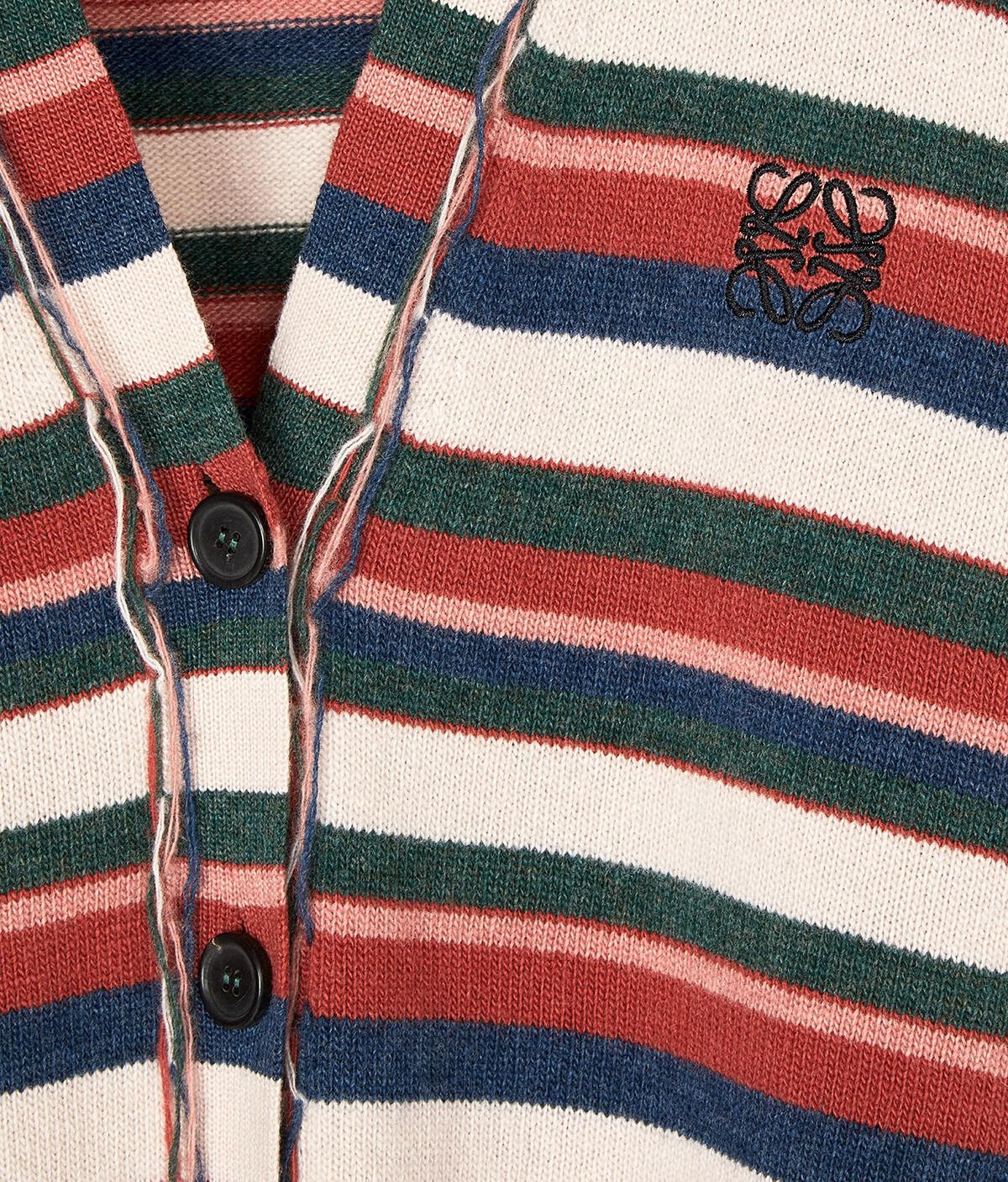LOEWE Stripe Anagram Cardigan Beige/Pink/Green front