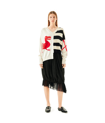 LOEWE V-Neck Sweater Dodo White/Black/Red front