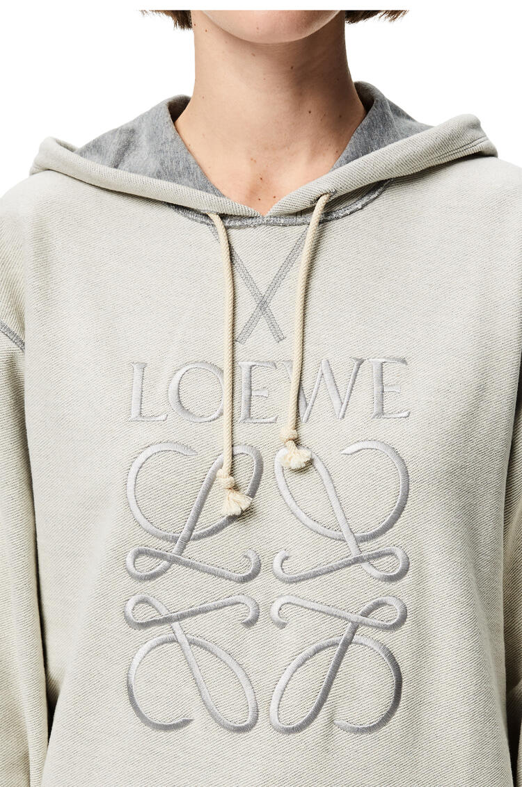 LOEWE LOEWE anagram embroidered hoodie in cotton Grey Melange pdp_rd