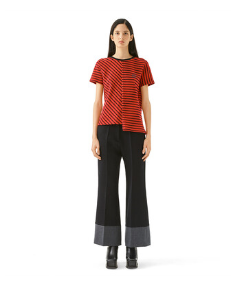 LOEWE Asymmetric Stripe T-Shirt Rojo/Negro front