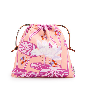 LOEWE Small Drawstring Pouch In Waterlily Canvas Salmon/Pink front