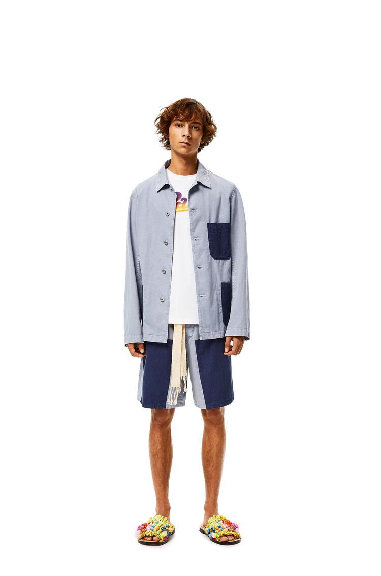 LOEWE Pantalón Corto De Algodón Con Parche Indigo/Azul Claro pdp_rd