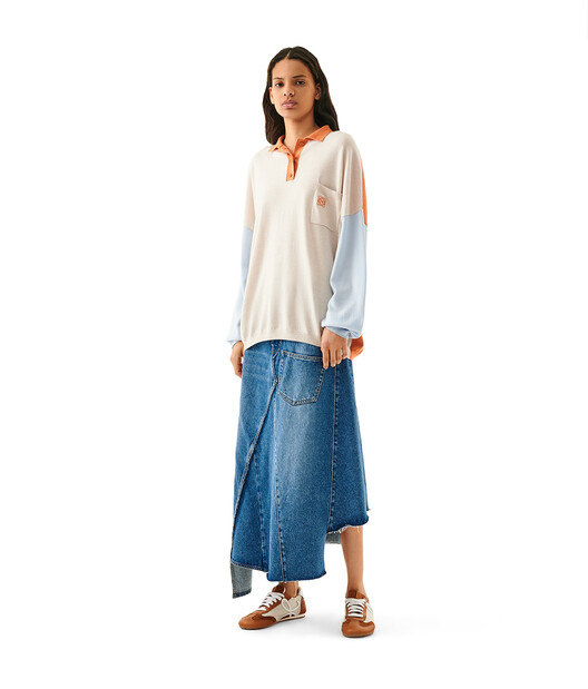 LOEWE Oversize Poloneck Sweater Naranja/Azul Claro front