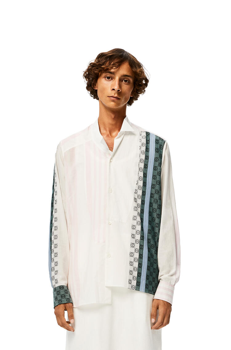 LOEWE Anagram Embroidered Asymmetric Shirt In Stripe Cotton Beige/Blue/White pdp_rd