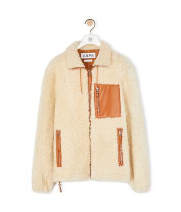 LOEWE Shearling Jacket White/Camel front
