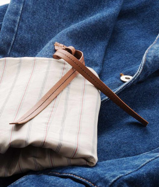 LOEWE Stripe Sleeve Denim Jacket Azul/Beige all