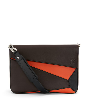 LOEWE Puzzle Messenger Bag Chocolate Brown/Orange front