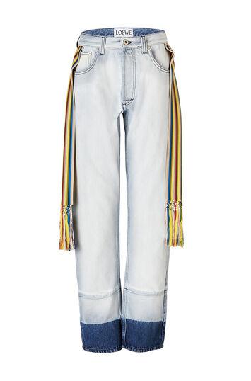 LOEWE 5ポケットジーンズニットストライプバンド ライトブルー front