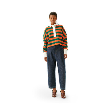LOEWE Stripe Polo Orange/Green front
