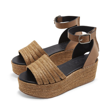 LOEWE Wedge Cord Sandal Taupe front