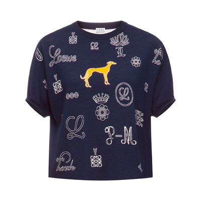 LOEWE Cropped Sweater Logos Navy Blue front