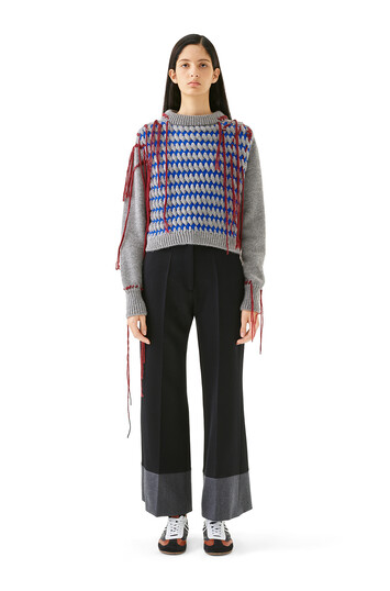 LOEWE Cropped Woven Fringe Sweater Blue/Grey front