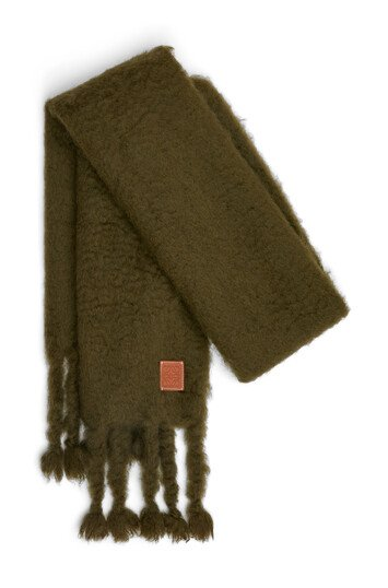 LOEWE 45X230 Mohair Scarf Khaki Green front