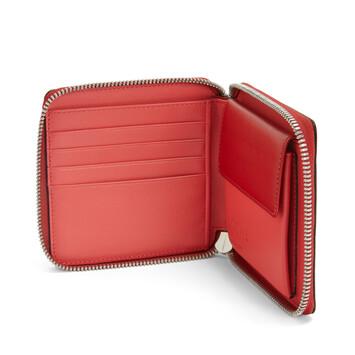 LOEWE Color Block Square Zip Wallet Pomodoro/Poppy Pink front