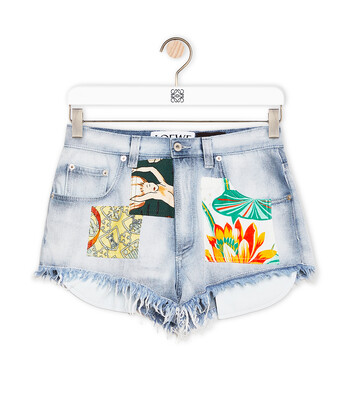 LOEWE Patched Shorts In Denim Light Blue/Multicolor front