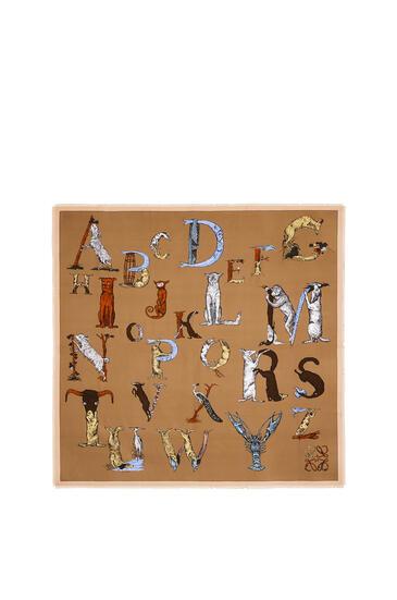 LOEWE 140 X 140 Cm Alphabet Scarf In Silk Beige pdp_rd