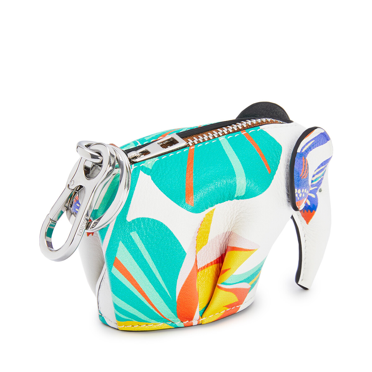 LOEWE Elephant Charm In Waterlily Classic Calfskin White front