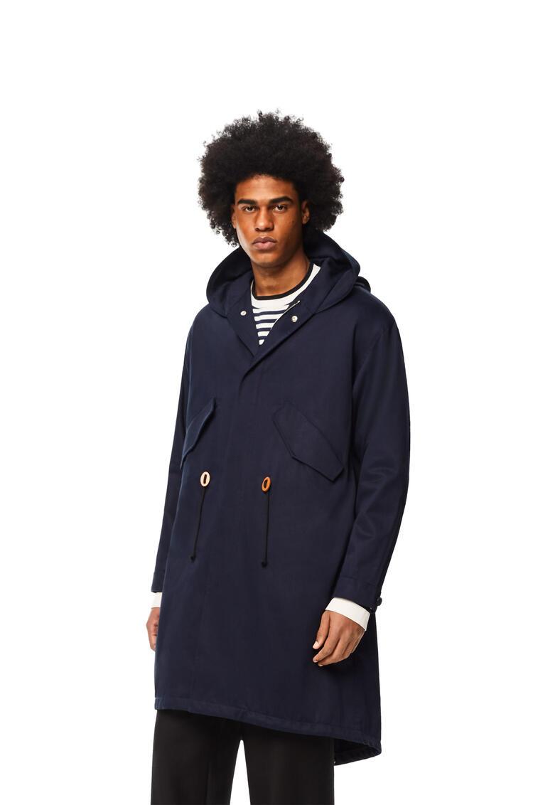 LOEWE Parka larga en algodón y acetato con capucha Marino pdp_rd