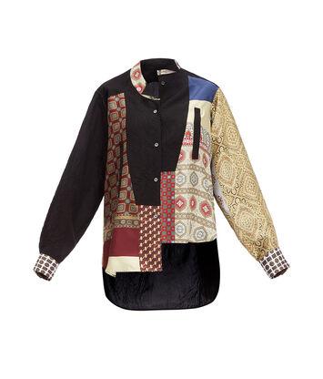 LOEWE アシメトリックシャツスカーフプリントパッチワーク マルチカラー front