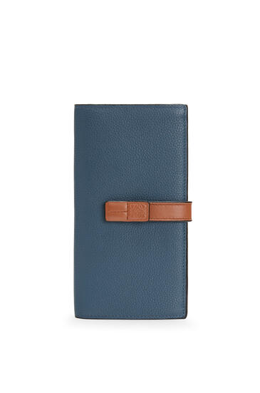 LOEWE Large vertical wallet in soft grained calfskin Steel Blue/Tan pdp_rd